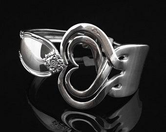 Heart within a Heart Fork Bracelet, Vintage Heart Jewelry, Handmade Bracelets from Recycled Antique Flatware, Hinged Heart 4 Bracelet