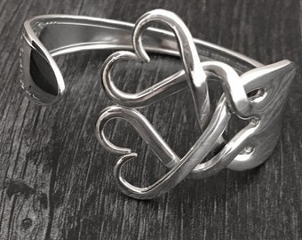 Upcycled  Jewelry, Unique Cuff Bracelets, Recycled Silver Fork Bracelet in Weaving Hearts Design