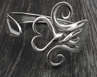 Twisted Heart Fork Bracelet, Silver Heart Jewelry, Mother's Day Gift, Eco Friendly Sustainable Gift Ideas