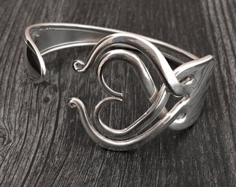 Gifts for Foodies, Chefs, Wearable Art, Fork Bracelet in Heart Design 3, Recycled Silverware Jewelry