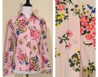 Pink floral blouse etsy vintage 1970s light pink floral long sleeve blouse medium m mightylinksfo