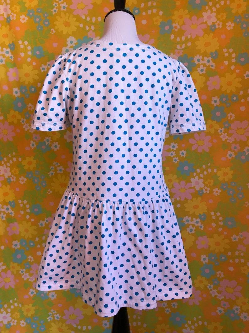 Vintage 1980/'s White with Blue Polka Dots Cotton Mini Cute Kawaii Retro Dress Large L