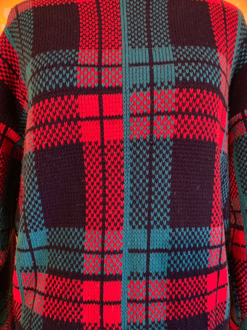 and Teal Winter Cute Sweater Holiday Christmas Size ML Navy Blue Vintage 1980\u2019s1990\u2019s Plaid Red