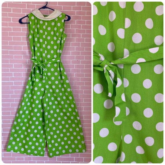 Vintage 1960's Bright Apple Green with White Polka