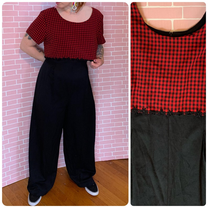 Vintage 1980\u2019s Black and Red Plaid One Piece Pantsuit Retro Funky New Wave