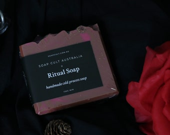 Ritual Soap   Nag Champa Incense with Organic Roses   Gothic, Witchcraft Vegan Body Soap
