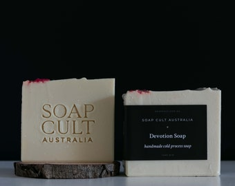 Devotion Soap   Vanilla, Raspberry, Champagne   Sophisticated Modern Bathroom Decor   Vegan Soap