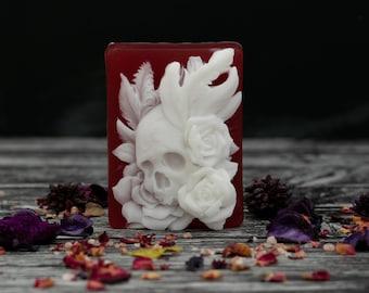 Skull + Roses soap   Bergamot, Ginger, Sandalwood, Patchouli   Self love witchcraft ritual