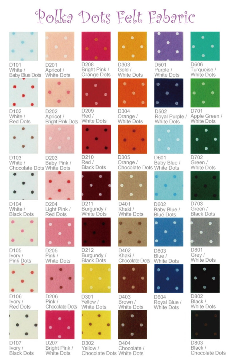 pick your own colors PR12y 16 HALF YARD Printed Felt Fabric