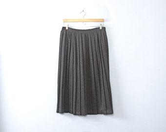 Vintage 80's dark grey pleated midi skirt, size Large / Medium
