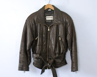 Vintage 80's chocolate brown cropped leather jacket with shoulder pads, size small