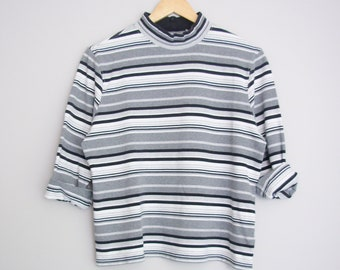 90's black and white striped turtleneck shirt, women's size large