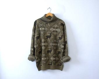 25dd10282920 Vintage 90 s oversized wool fair isle sweater with deer