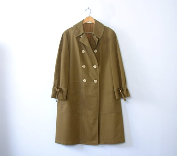 Vintage 60's olive green swing trench coat, women'