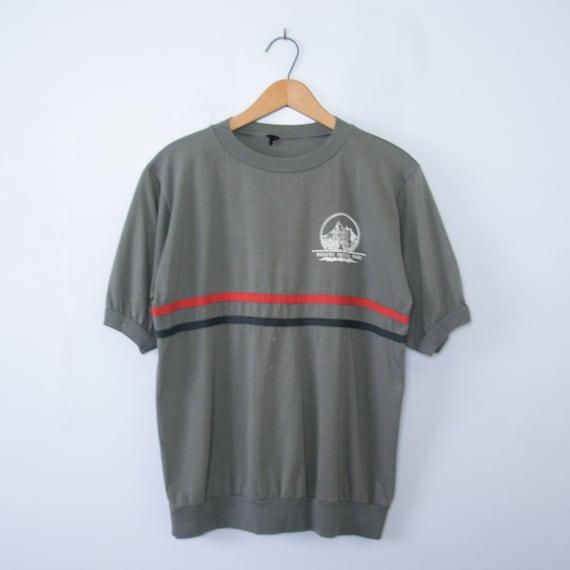 Vintage 80's grey Badlands ringer tee shirt, men's