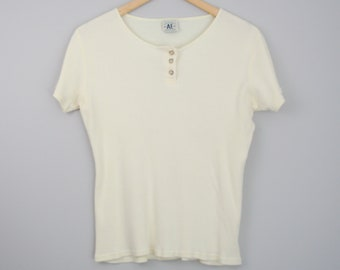 90's American Eagle ribbed knit henley shirt, women's size large