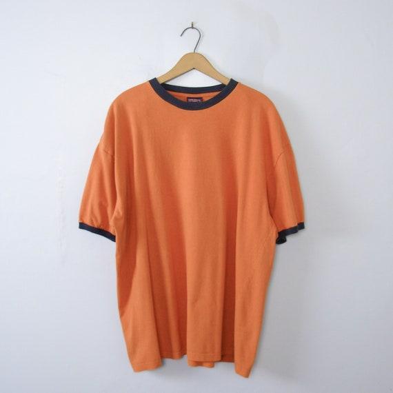 Vintage 90's plain pumpkin orange ringer tee shirt
