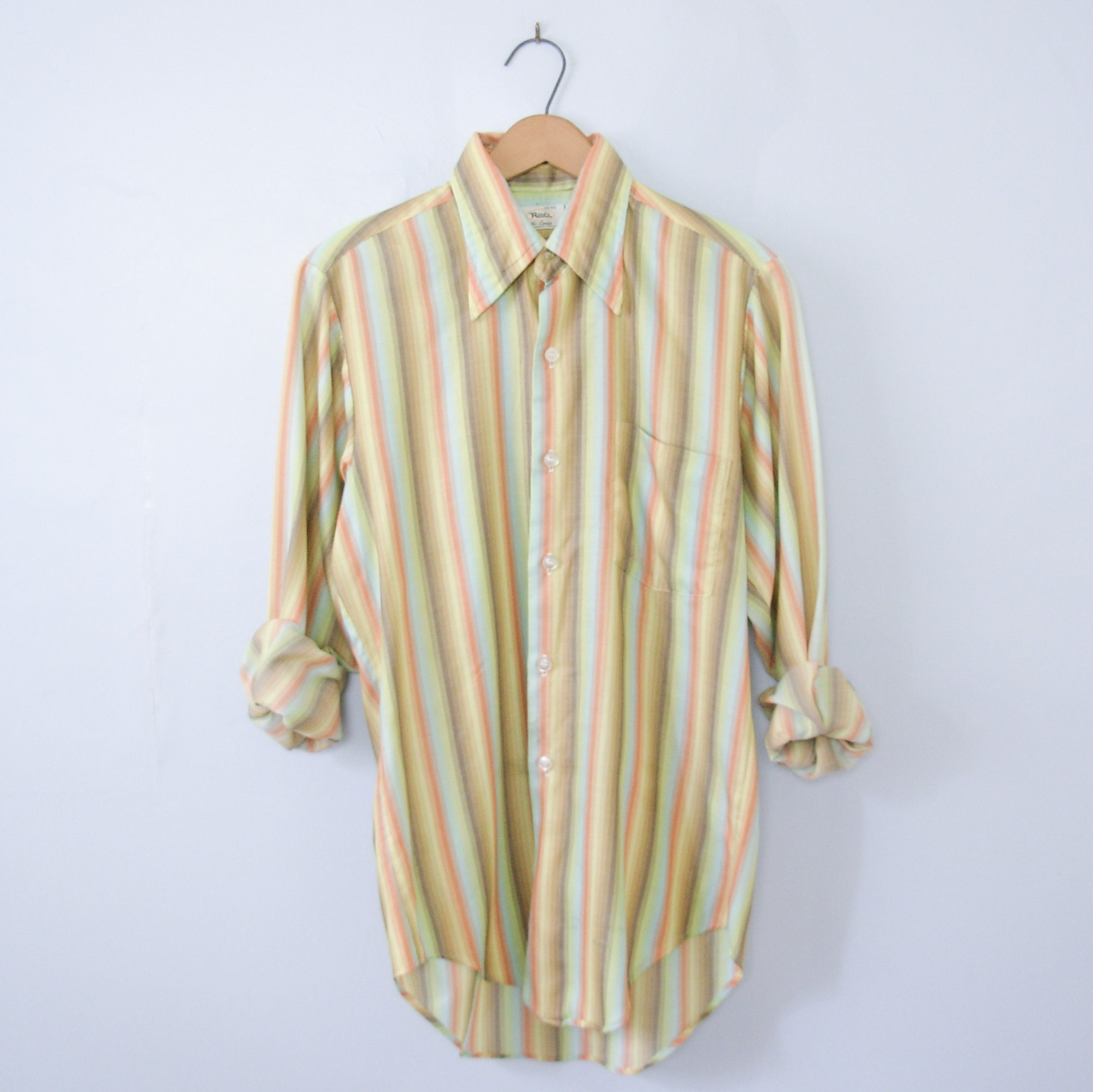 1970s Men's Shirt Styles – Vintage 70s Shirts for Guys Vintage 70s Rainbow Striped Button Up Shirt With Pocket, Mens Size Small $35.00 AT vintagedancer.com