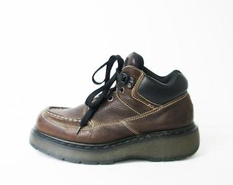 Vintage 90's Dr Martens DM brown leather chunky platform boots, men's size 9
