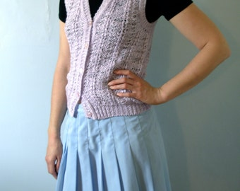 Vintage 80's lilac sweater vest, pastel knit vest, size medium