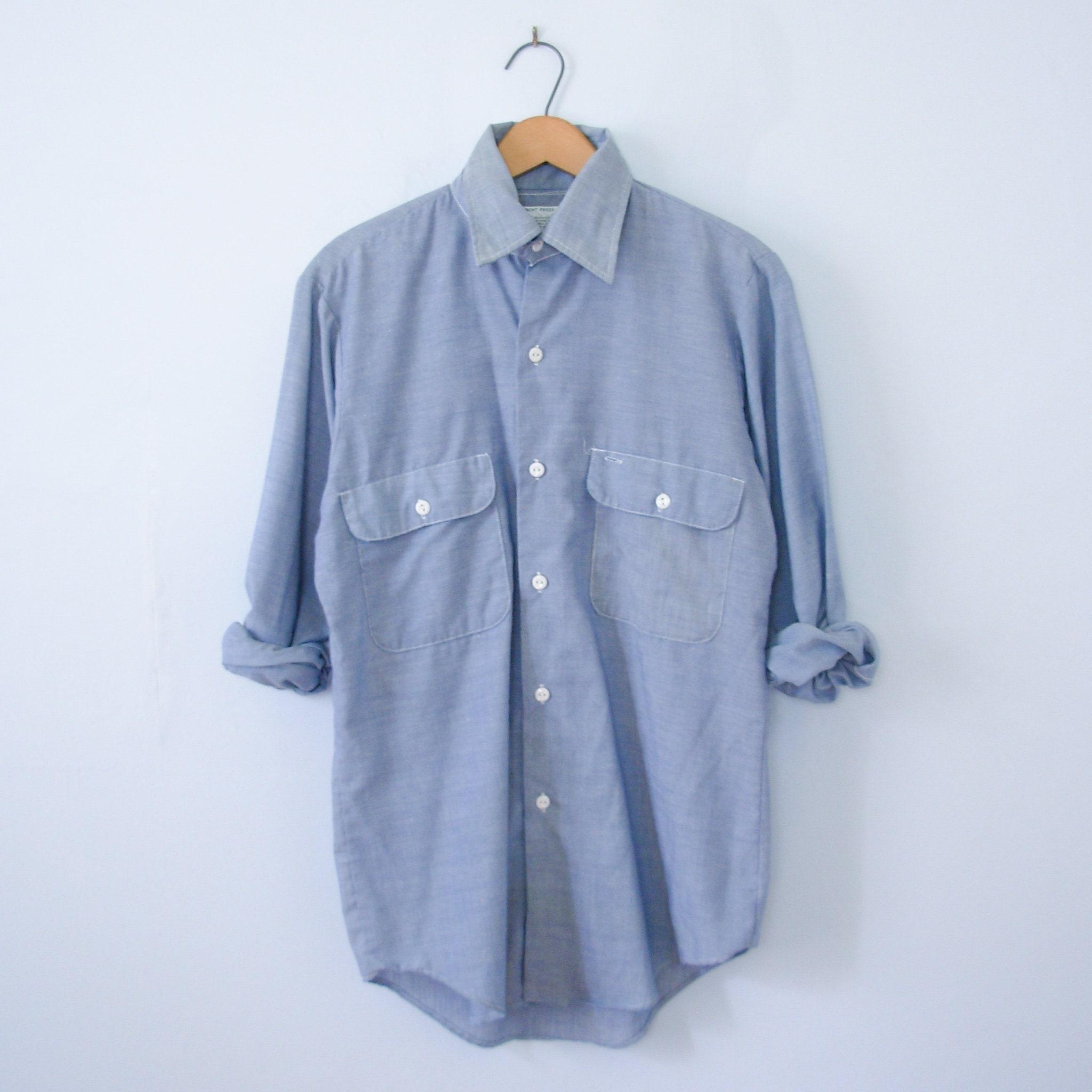 1970s Men's Shirt Styles – Vintage 70s Shirts for Guys Vintage 70s Chambray Denim Shirt, Mens Size Small $35.00 AT vintagedancer.com