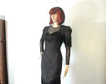 Vintage 80's black lace dress with fringe, shoulder pads, size small