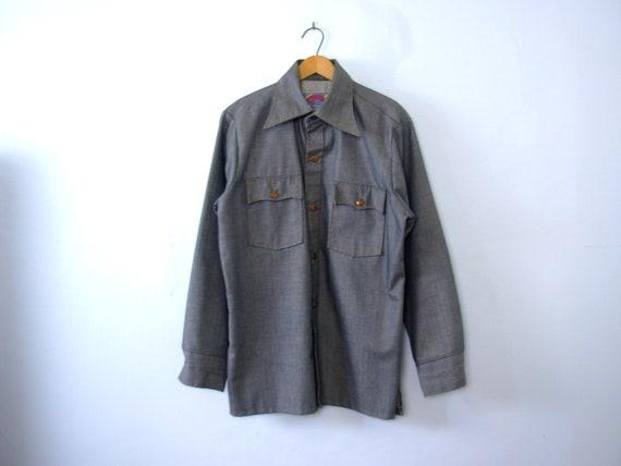 Vintage 70's Wrangler western denim shirt, men's s