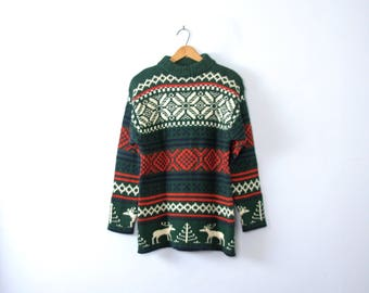 Vintage 90's Ugly Christmas sweater with reindeer, wool sweater size Medium