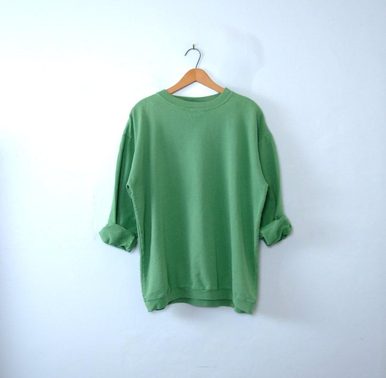 66cc1579d Vintage 80's light green plain sweatshirt men's size | Etsy