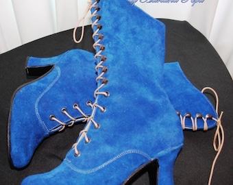 Blu Royal Victorian, stivali Blu Royal, blu camoscio stivaletti, Edwardian, nonna stivali, stivaletti a molla