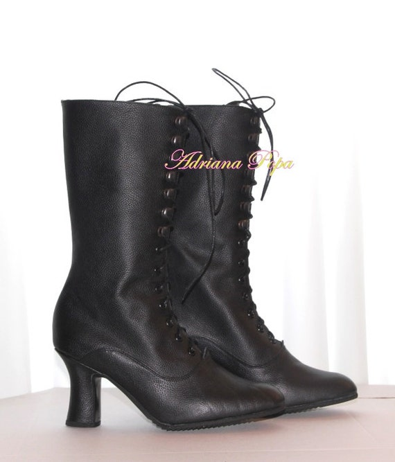 Black Leather Bots Victorian boots