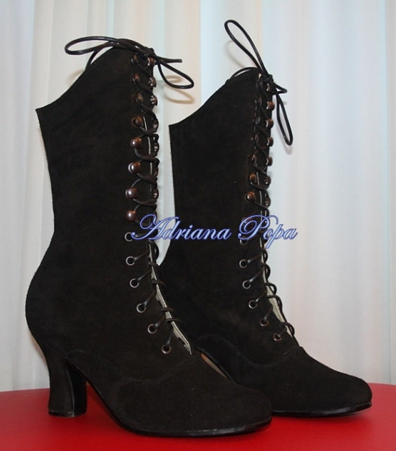 Steampunk Boots & Shoes, Heels & Flats Victorian Boots Black Suede Leathe Boots 1900 Boots Edwardian Boots Regency Boots Historical Boots Burning Men Boots Handcrafted Boots $235.00 AT vintagedancer.com