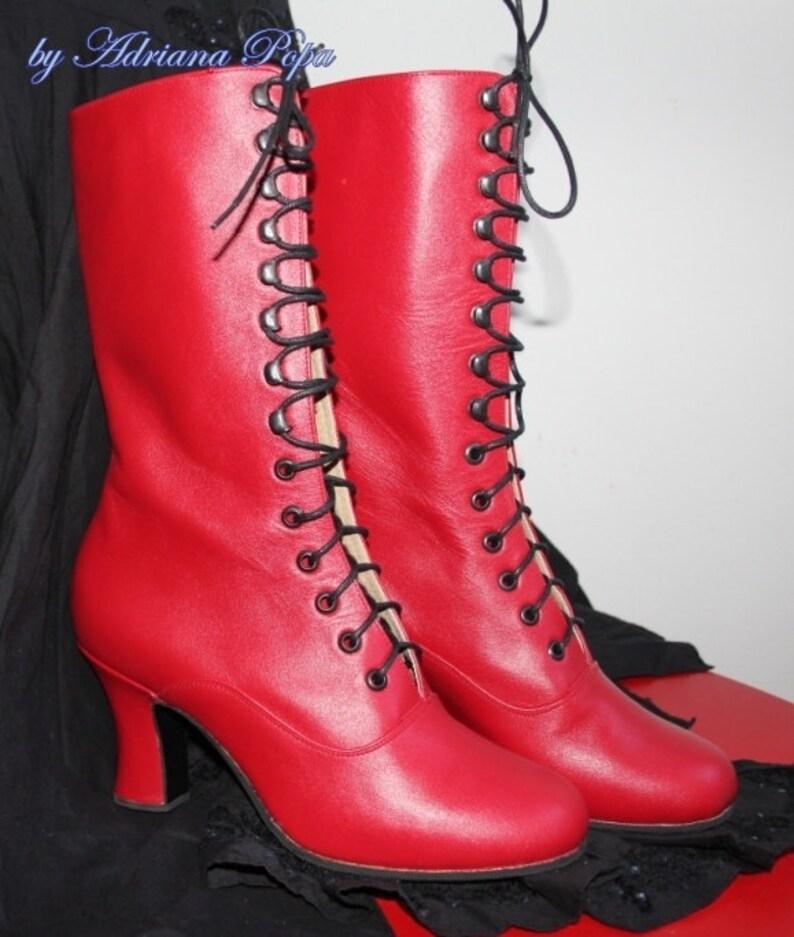 683984269caaf3 Rote viktorianischen Stiefel rote Edwardian Stiefel Kinky