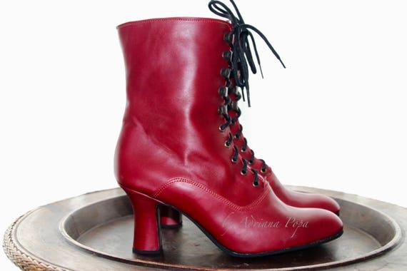 Stivali rossi, stivali rossi vittoriani, caricamenti del sistema rossi edoardiano, vittoriane scarpe rosse, rosso Ankle Booties, Kinky Boots, stivali