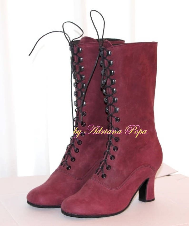 Victorian Boots Granny Boots Ankle Boots in Deep rich Plum  1d9dfc410