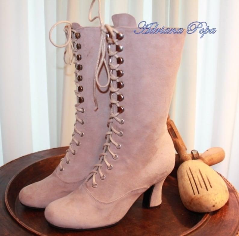 SALEVictorian Boots Powder Pink