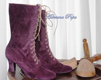Amethyst Victorian Boots , Purple Victorian Boots , Edwardian boots , Stage boots , Custom made booties , Granny booties