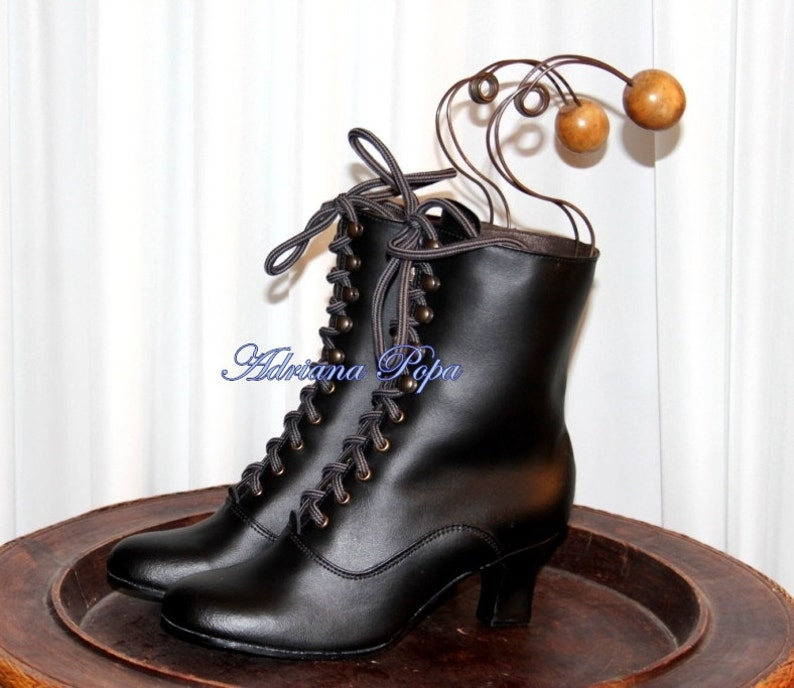 1900 -1910s Edwardian Fashion, Clothing & Costumes Black Leather Granny Boots Regency Boots Victorian Boots Edwardian Boots 1900 style Booties Wide feet shoes Handcrafted shoes $235.00 AT vintagedancer.com