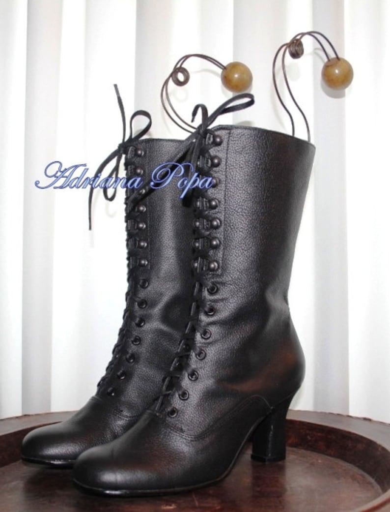 f4a0b666c0dc3 Victorien bottes bottines en cuir noir cuir noir bottes