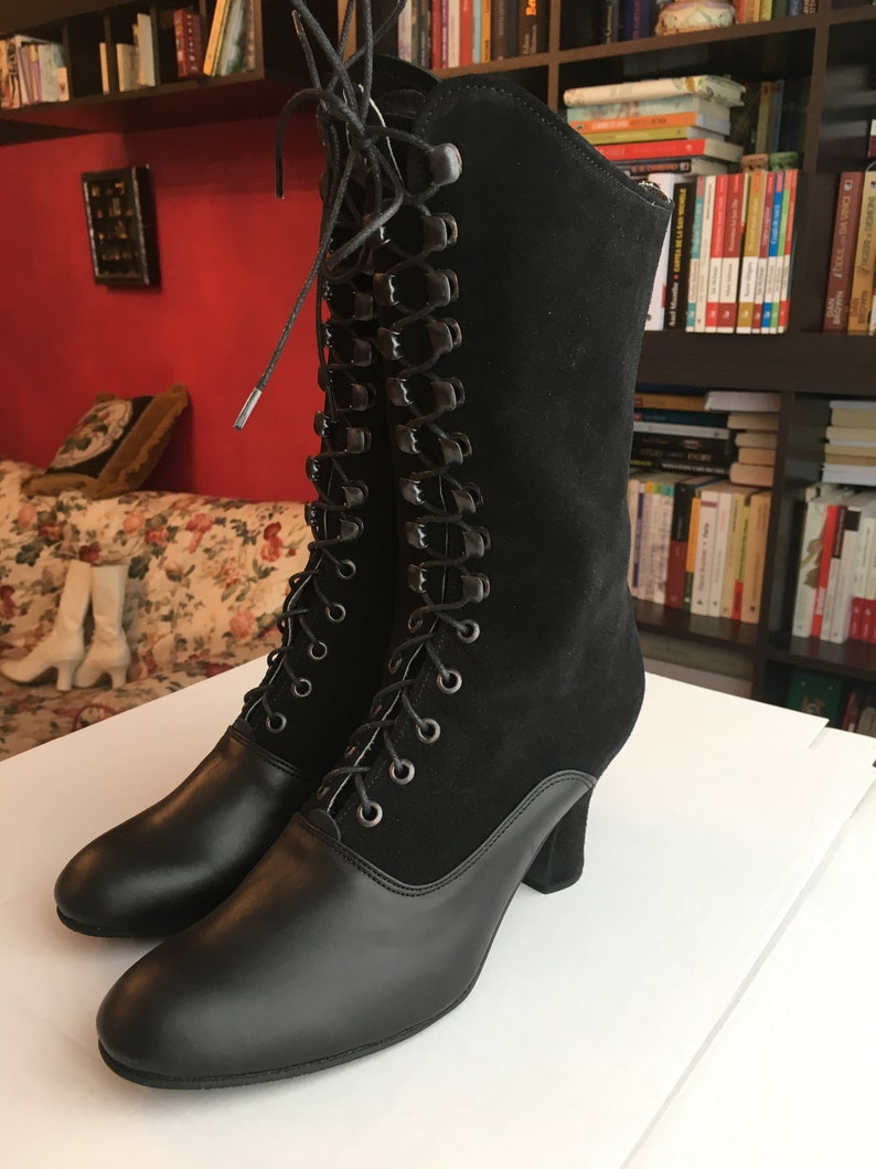 Vintage Boots- Buy Winter Retro Boots Victorian Boots 2 tone Black leather Boots Granny Boots Historical Boots Peaky Blinders Boots Regency Boots Custom made Boots 1900 Boots $235.00 AT vintagedancer.com