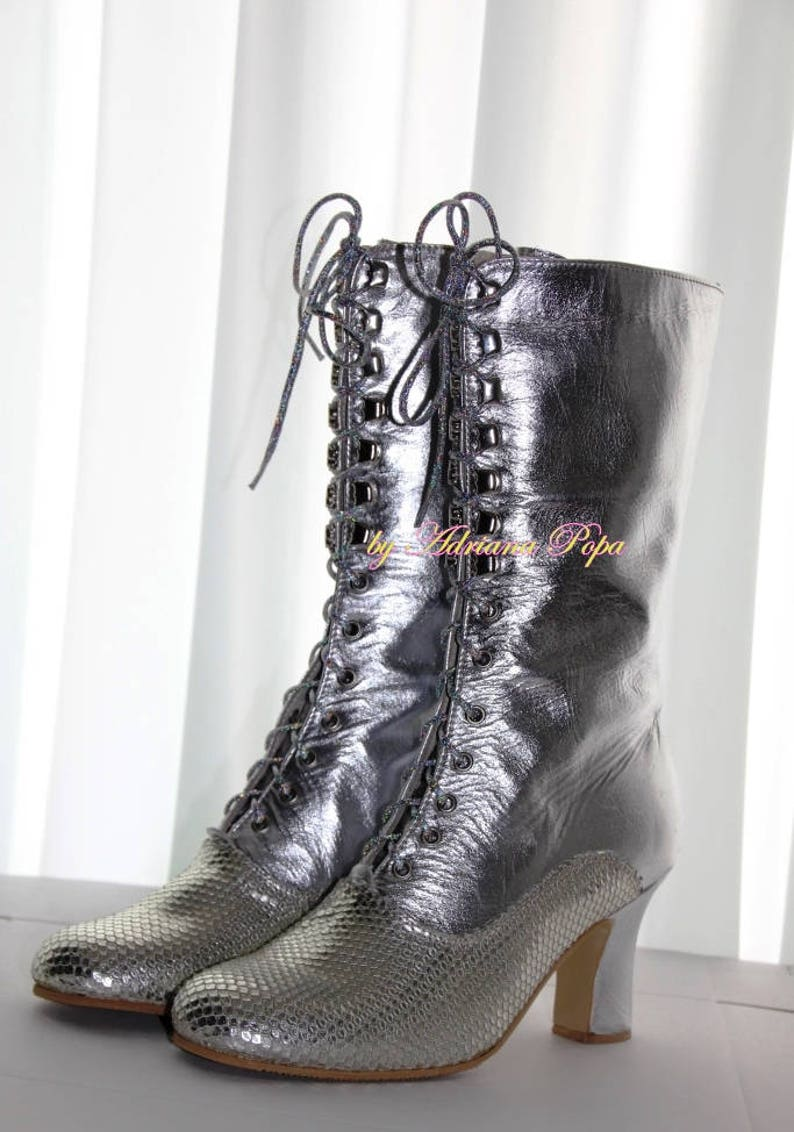 02da92dc3 Victorian Boots Tinfoil Boots Granny Booties Silver | Etsy
