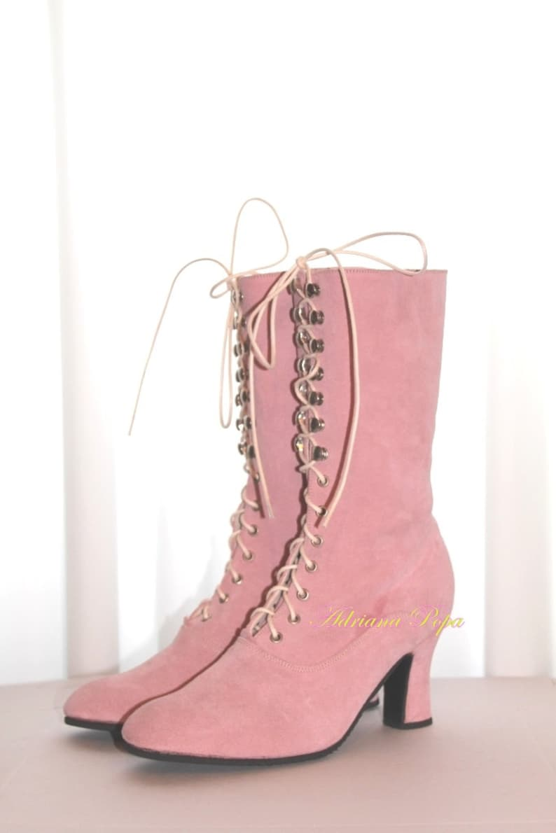 9593b78b4fd Victorian Boots, Edwardian Boots, Blush Pink leather Ankle Boots , Light  Pink suede leather Booties , Custom made boots , 1900 Boots
