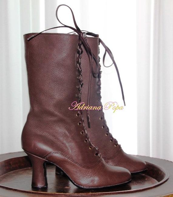 l'atteggiamento migliore 3a5a0 06954 Stivali stile vittoriano, nonna Boots, stivaletti marrone, Edwardian  stivali, stivali storico, Custom made stivali