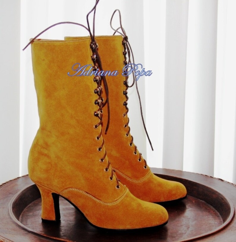 70s Clothes | Hippie Clothes & Outfits Ochre leather Ocher Victorian Retro Boots Ochre Boho leather boots Bridal Leather Booties Custom made boots 1900 Boots Comfort Boots $234.87 AT vintagedancer.com