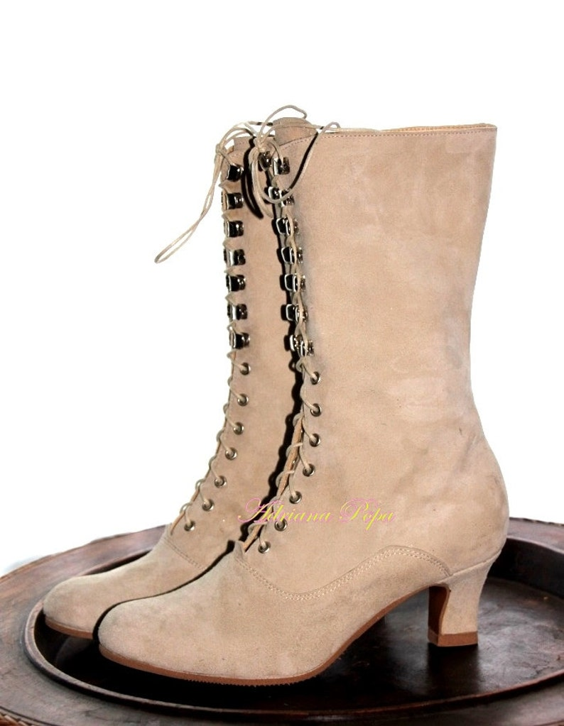 Cocktail Ankle Boots Leather Boots Victorian Boots Ivory Boots Granny Bots Edwardian boots Burning man boots