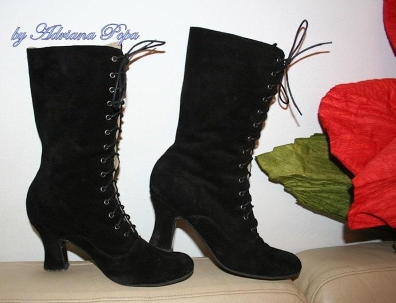 Viktorianischen Stiefel, schwarze Wildleder Stiefeletten, Oma Stiefel, Edwardian Stiefel, historischen Stiefel, Stiefel nach Maß