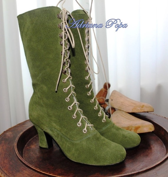 1960s Shoes: 8 Popular Shoe Styles Victorian Boots  Khaki Victorian Booties  Edwardian Booties Steampunk Boots  Ankle Boots  Alternative fashion Boots  Burning Men Boots $211.69 AT vintagedancer.com
