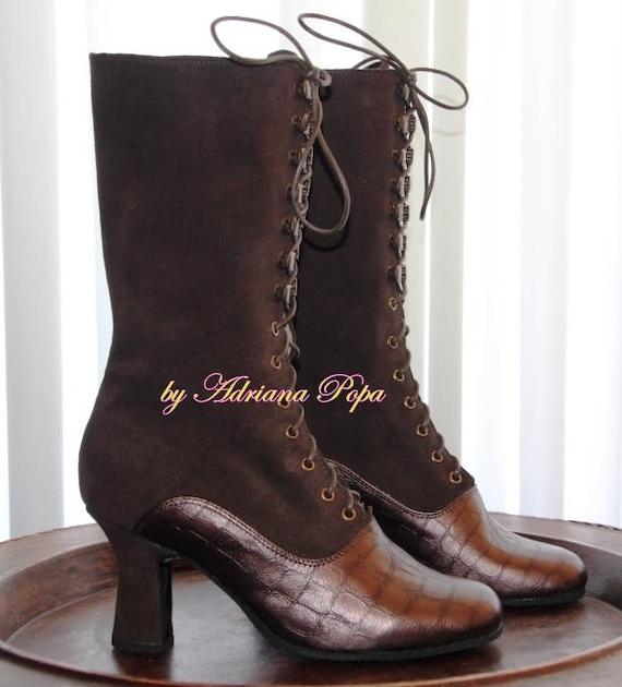 Stiefel2 Leder StiefelettenOma Ton Braun Viktorianischen Historische Maßgeschneiderte Stiefel OkZXiuTP