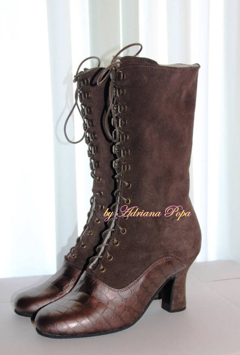 Steampunk Boots & Shoes, Heels & Flats Victorian Boots  2 tone Brown leather Ankle Boots  Brown Granny Boots  Historical Boots  Custom made boots $235.00 AT vintagedancer.com