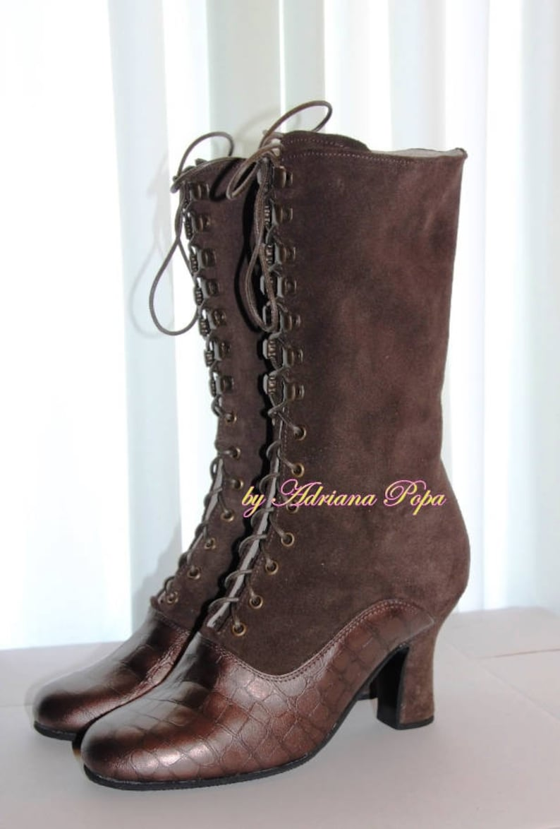 Cottagecore Clothing, Soft Aesthetic Victorian Boots  2 tone Brown leather Ankle Boots  Brown Granny Boots  Historical Boots  Custom made boots $235.00 AT vintagedancer.com